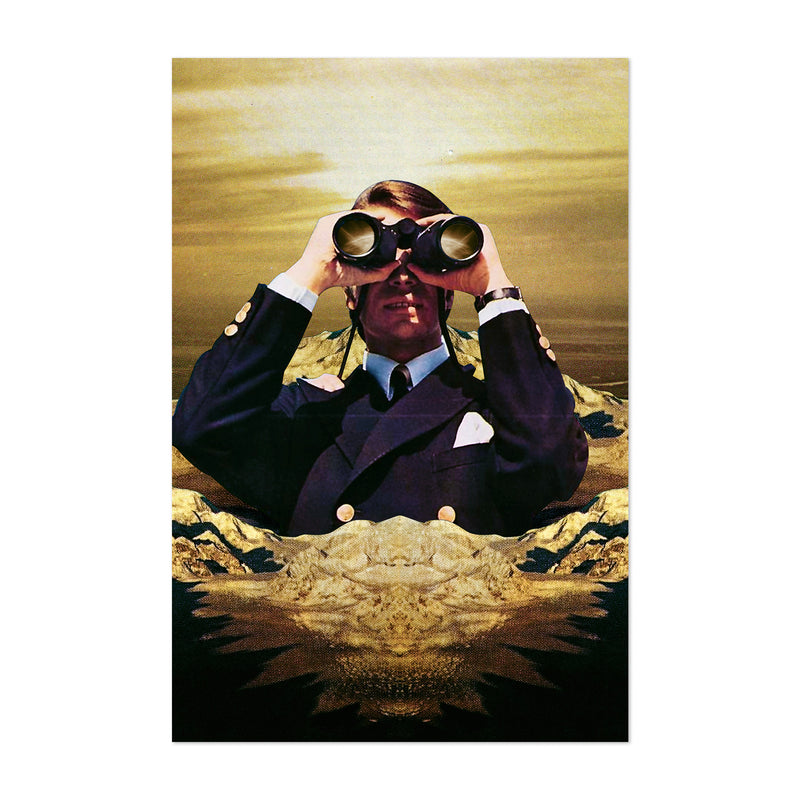 Binoculars Mountain Man Collage Art Print