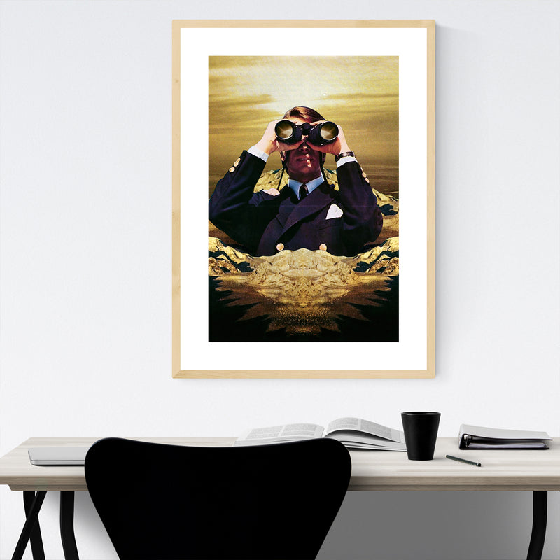 Binoculars Mountain Man Collage Framed Art Print