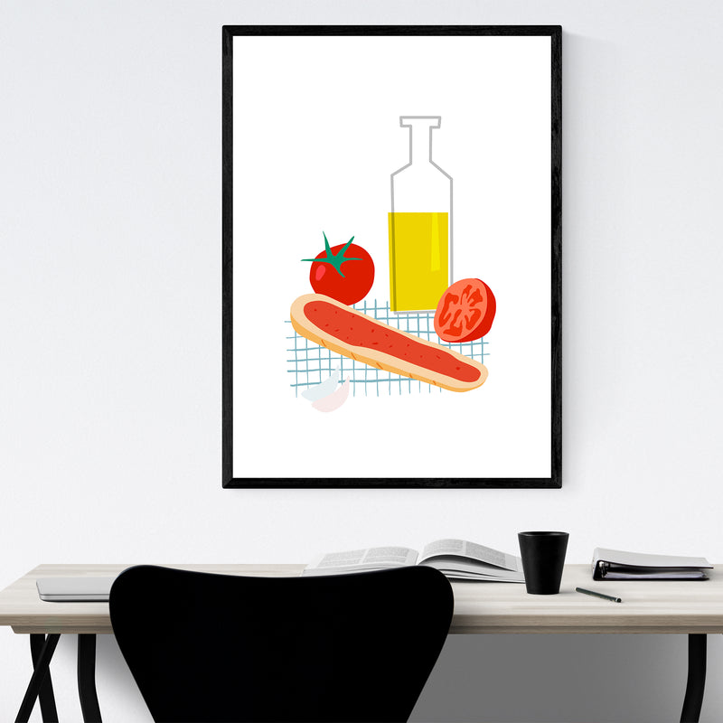 Tomato Olive Oil Bread Kitchen Framed Art Print