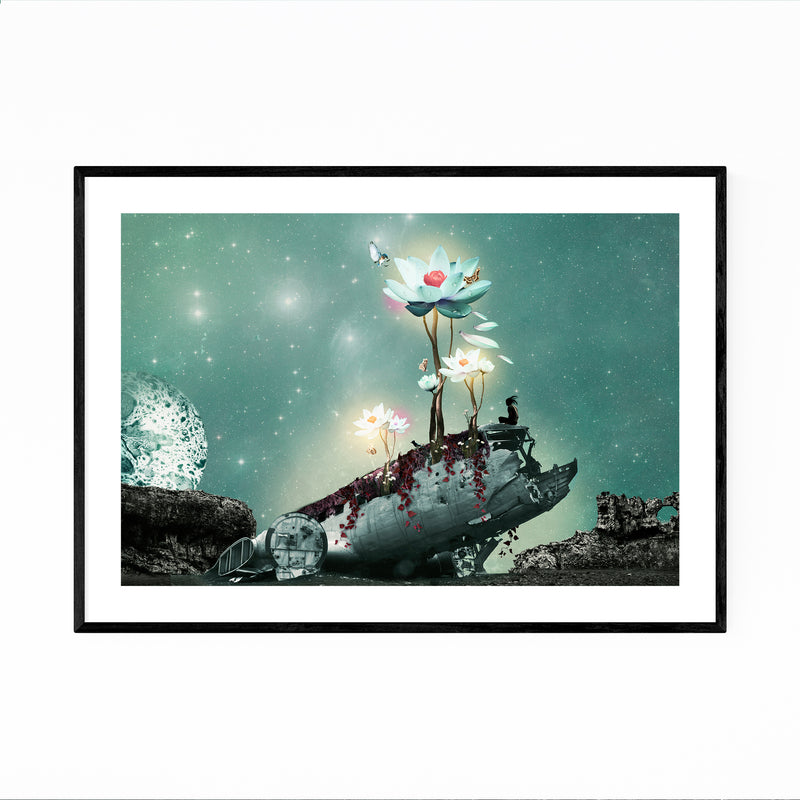Space Astronomy Futuristic Collage Framed Art Print
