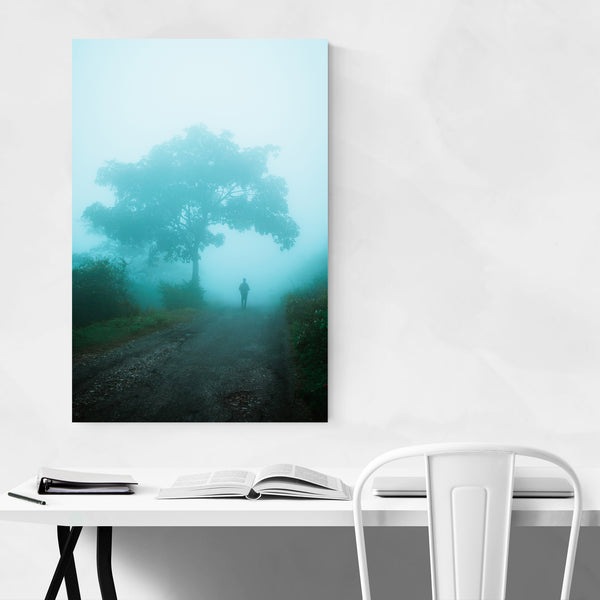 Foggy Tree Forest Man Art Print