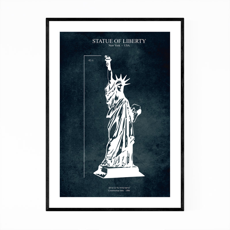 Statue of Liberty NYC Patent Print Framed Art Print