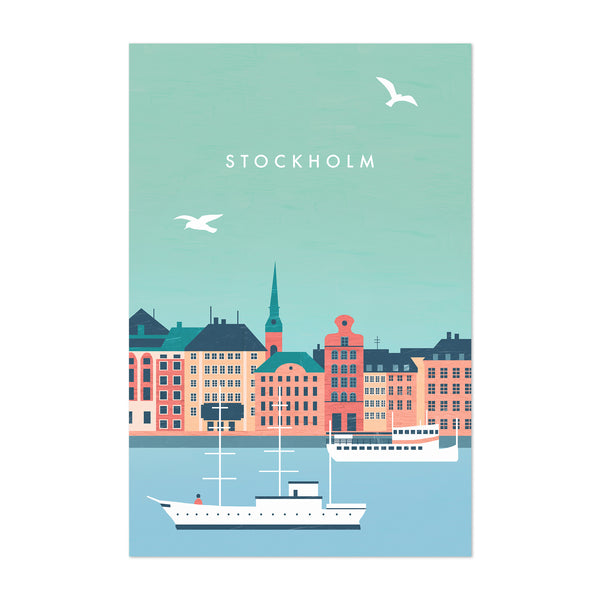 Stockholm Sweden Vintage Travel Art Print