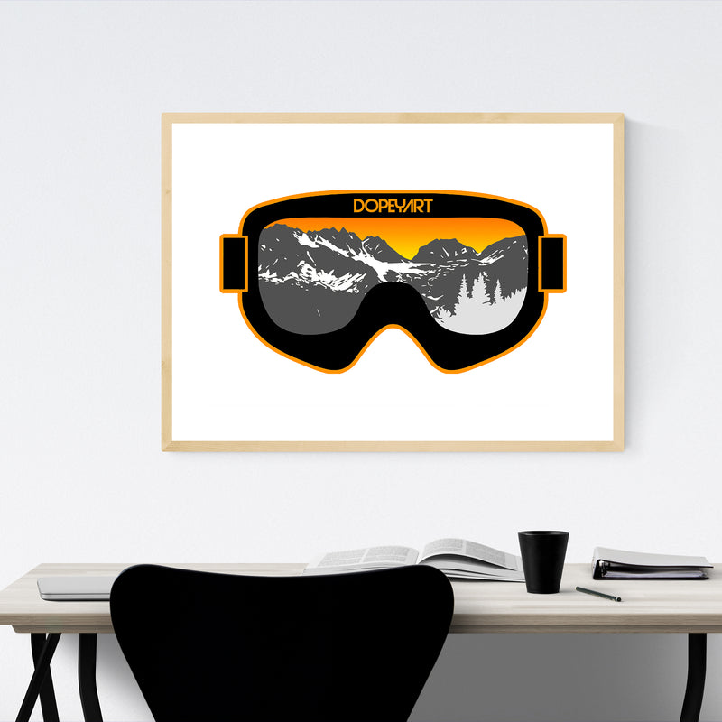 Skiing Gift Mountains Nature Framed Art Print