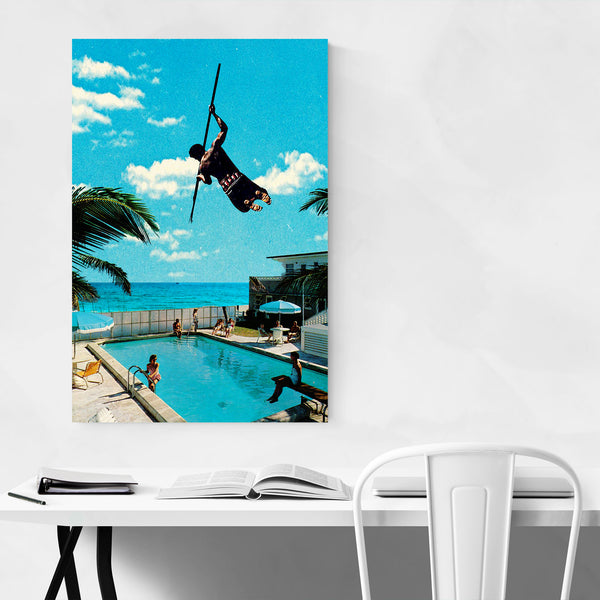 Tropical Man Pole Vaulting Swimming Art Print
