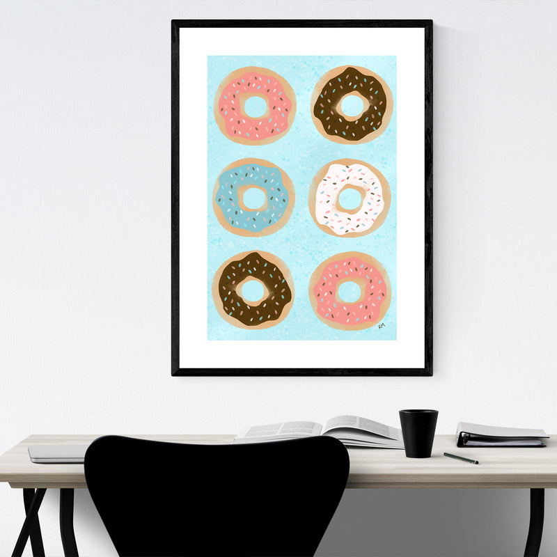 Donuts Food Kitchen Cooking Gift Framed Art Print