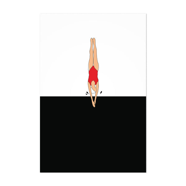 Swimming Figurative Illustration Art Print