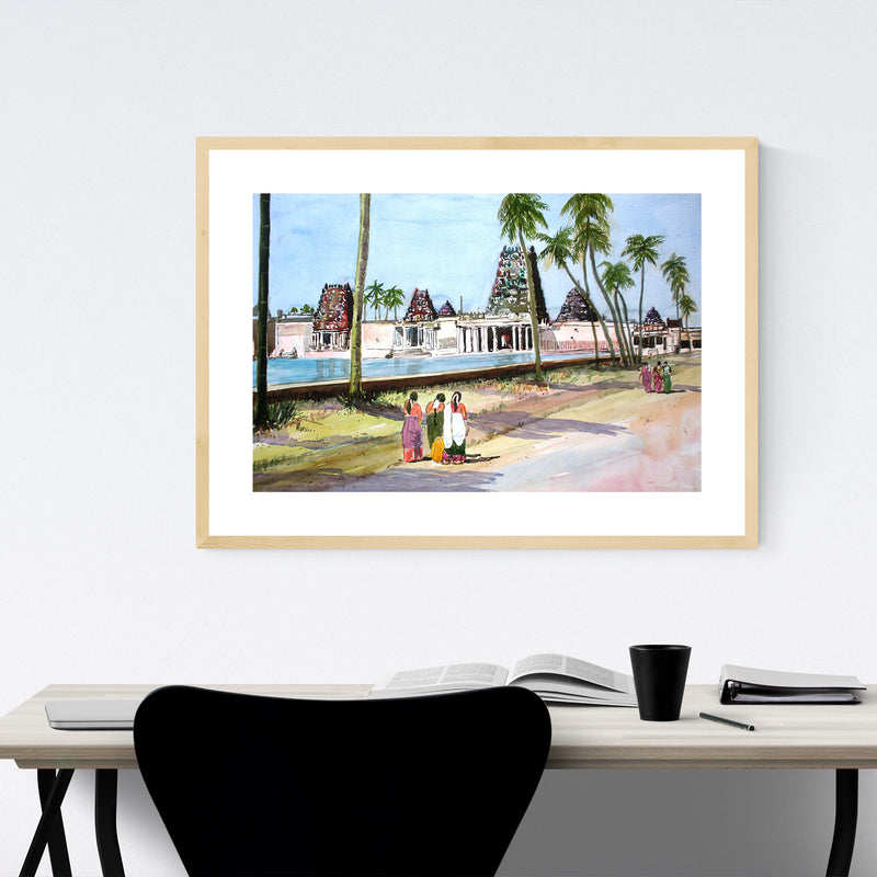 India Temple Landscape Painting Framed Art Print