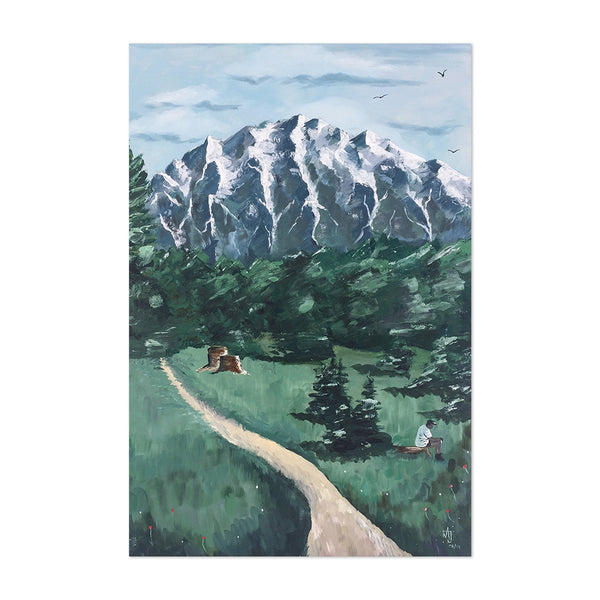 German Alps Mountains Painting Art Print