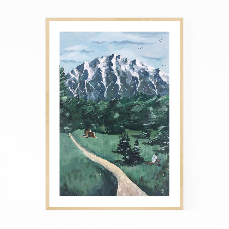 German Alps Mountains Painting Framed Art Print