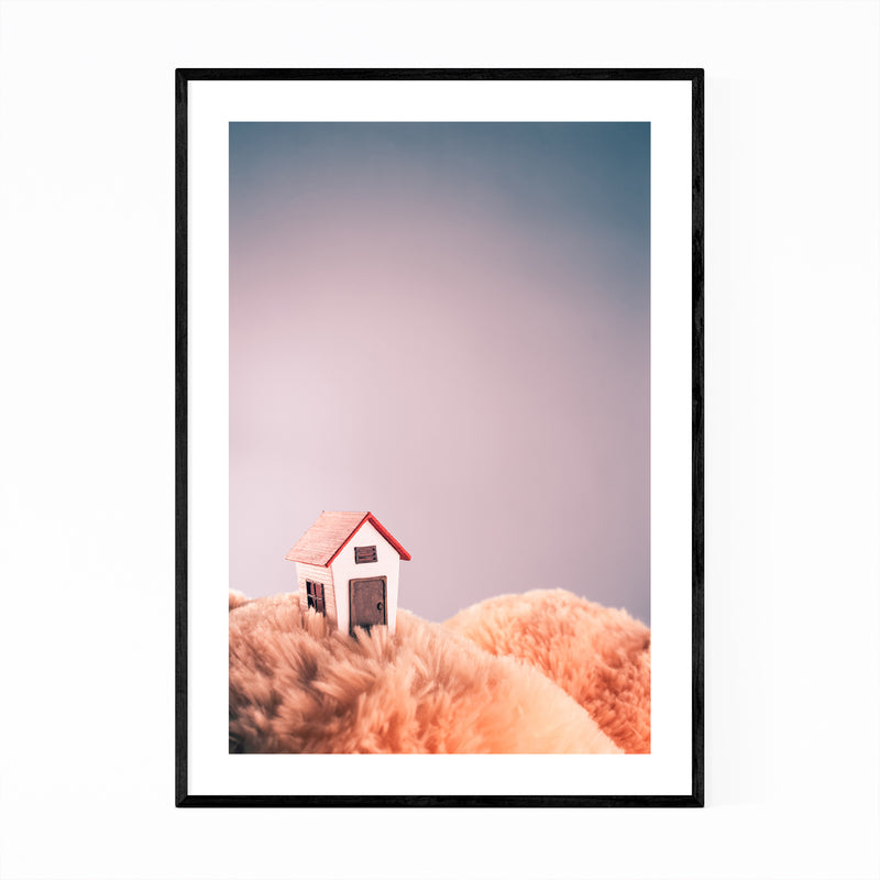 Tiny Miniature House Whimsical Art Print Poster Framed Wall