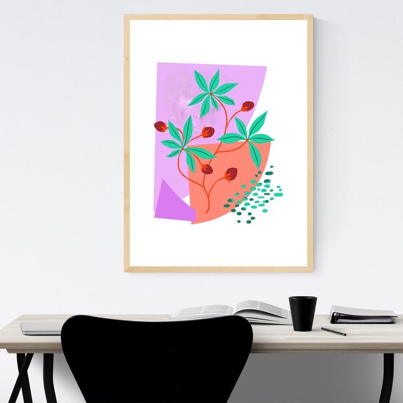 Abstract Plant Floral Botanical Framed Art Print