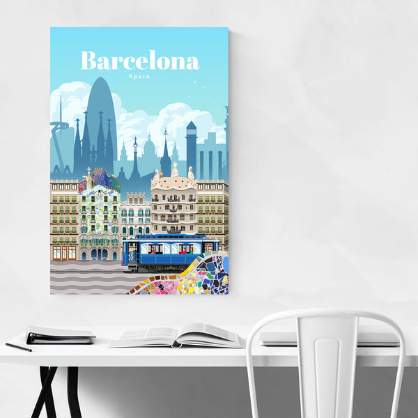 Barcelona Spain Travel Poster Art Print