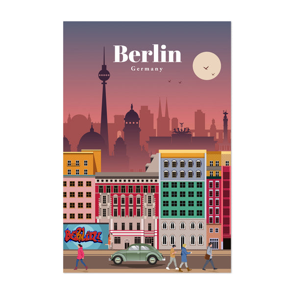 Berlin Germany Retro Travel Poster Art Print
