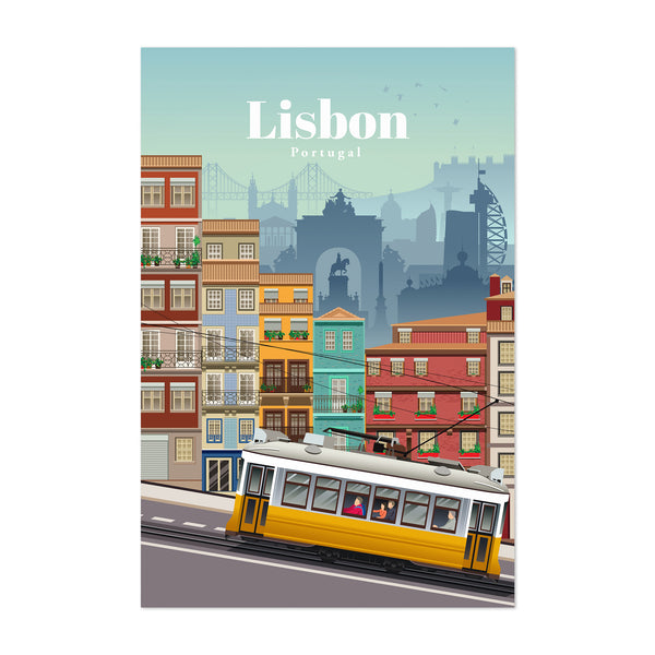 Lisbon Portugal Retro Travel Poster Art Print