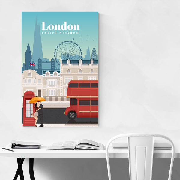 London Retro Vintage Travel Poster Art Print
