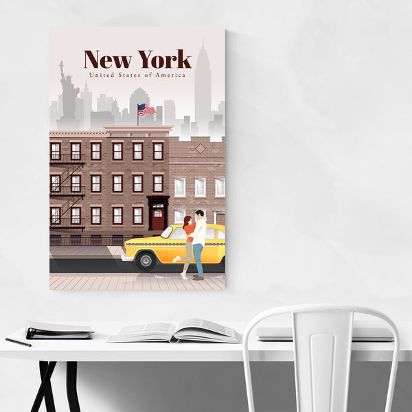 New York City Retro Travel Poster Art Print