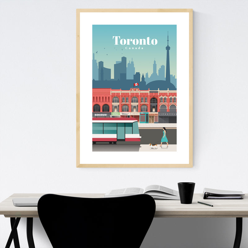 Toronto Canada Travel Poster Framed Art Print