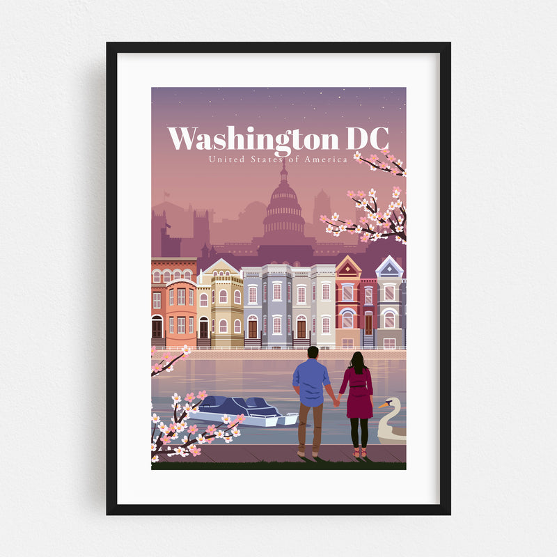 Washington DC Skyline Travel Framed Art Print