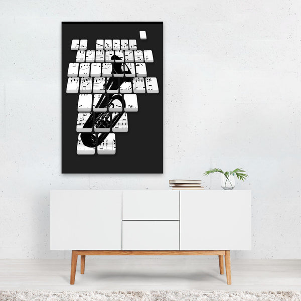 Black & White Music Tuba Mixed Media Art Print