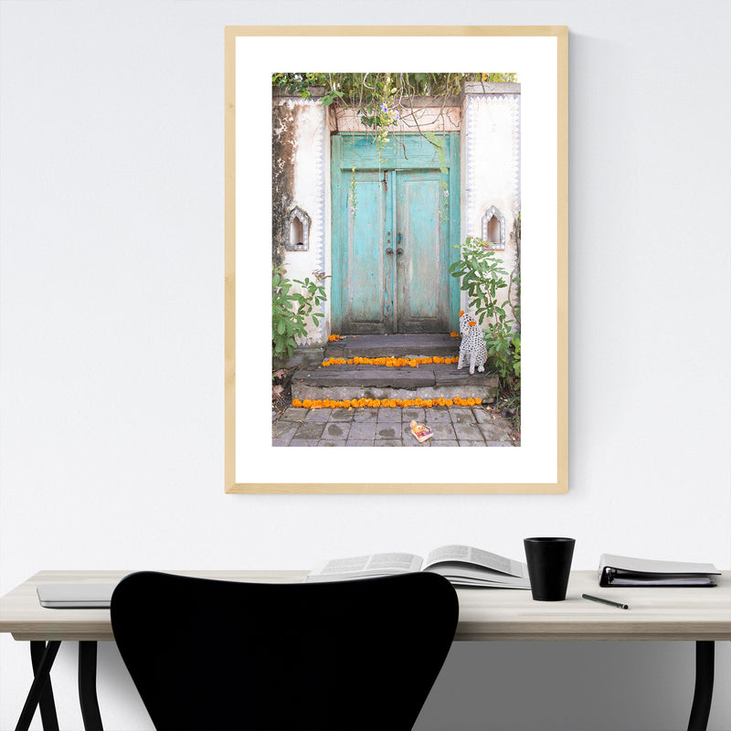 Teal Door Bali Indonesia Framed Art Print