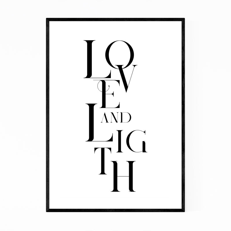 Love and Light Typography Framed Art Print