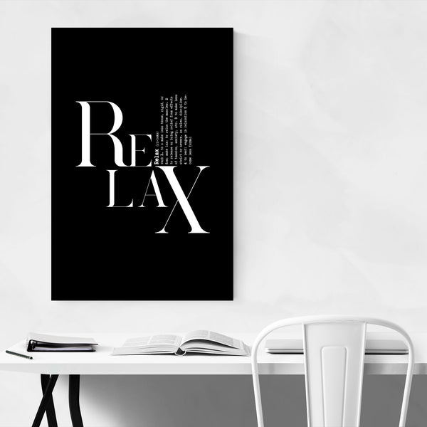 Relax Definition Typography Art Print