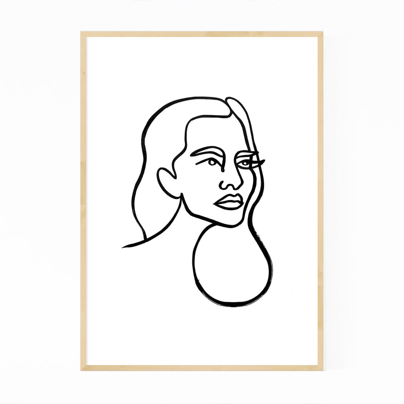 Abstract Feminine Line Drawing Framed Art Print