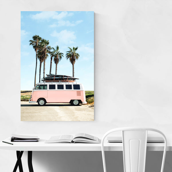 VW Van Surfing Palm Trees Art Print