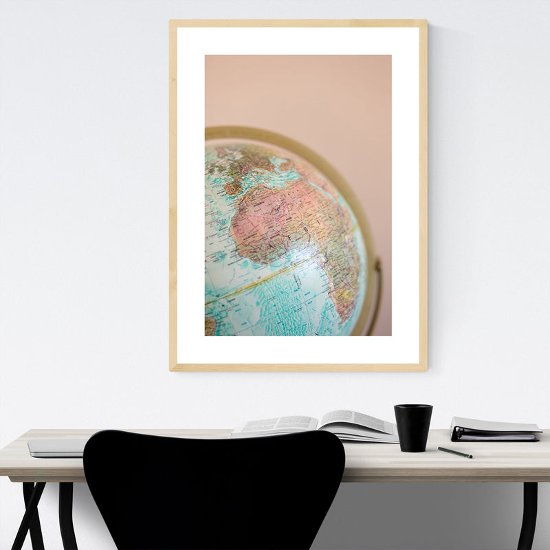 World Map Globe Photography Framed Art Print