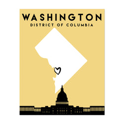 Washington DC Heart Map Art Print