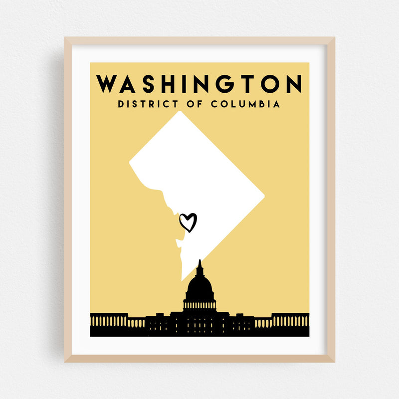 Washington DC Heart Map Framed Art Print