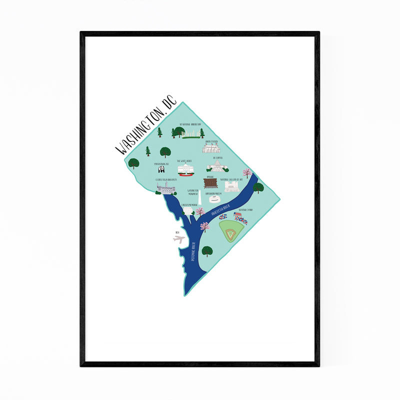Washington DC City Street Map Framed Art Print
