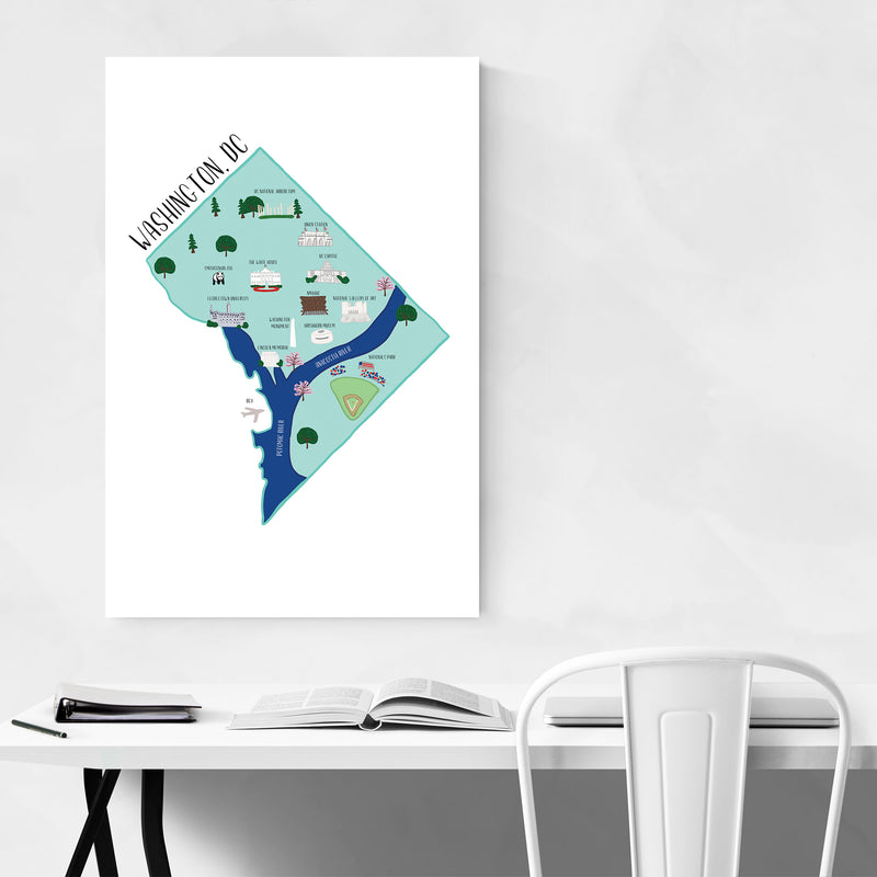 Washington DC City Street Map Art Print