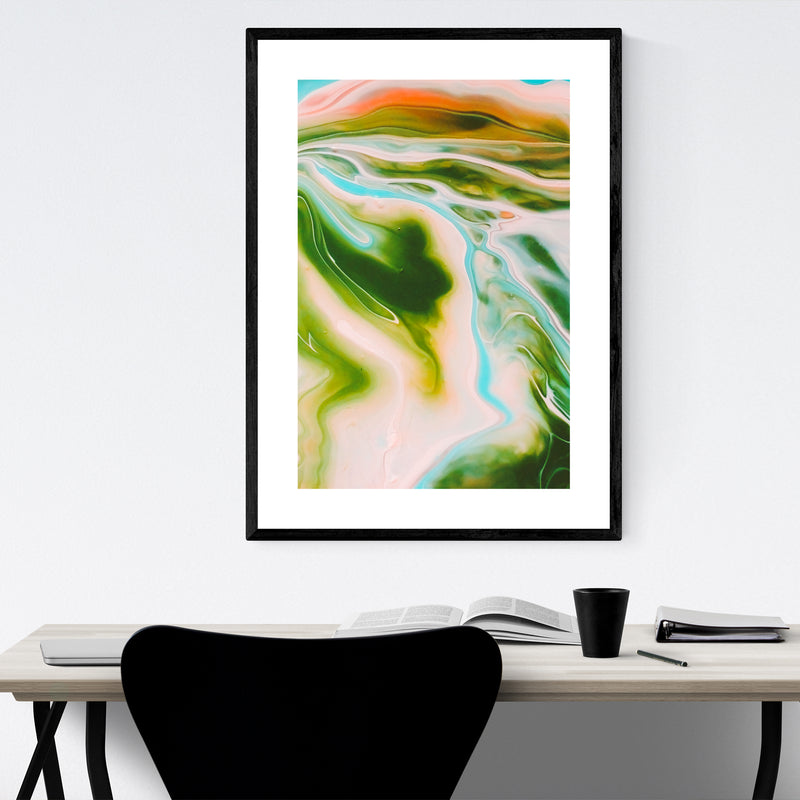 Pastel Abstract Marble Wave Framed Art Print