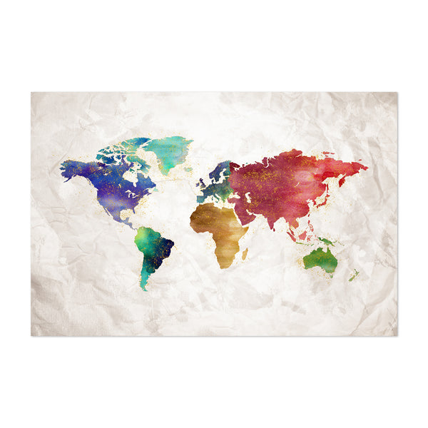 Watercolor Travel World Map Art Print