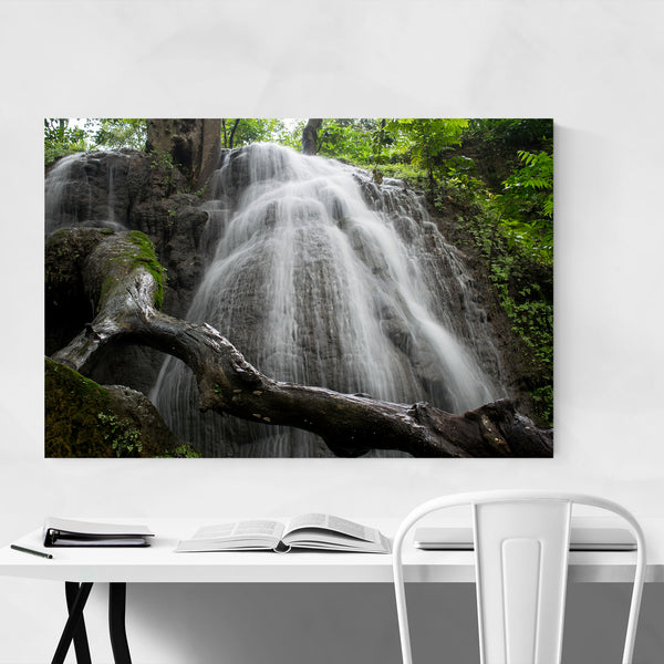 Waterfall Nature Trees Scenic Art Print