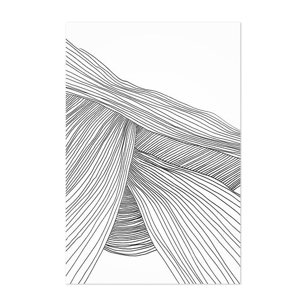 Minimal Abstract Line Drawing Wave Art Print