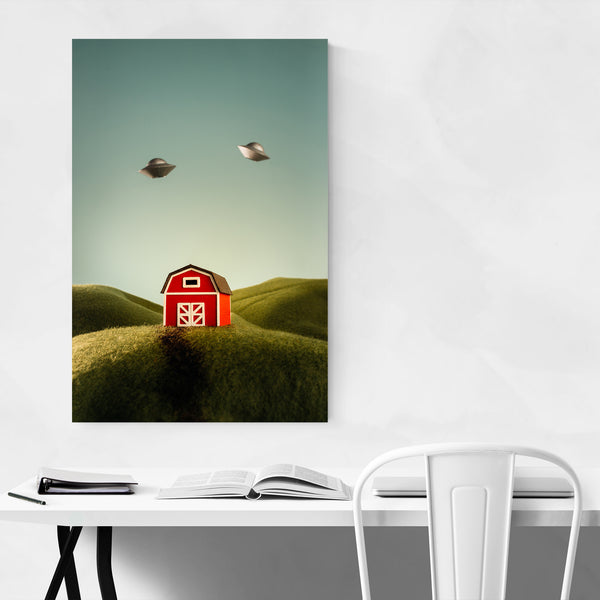 Whimsical Farm UFOs Fantasy Art Print