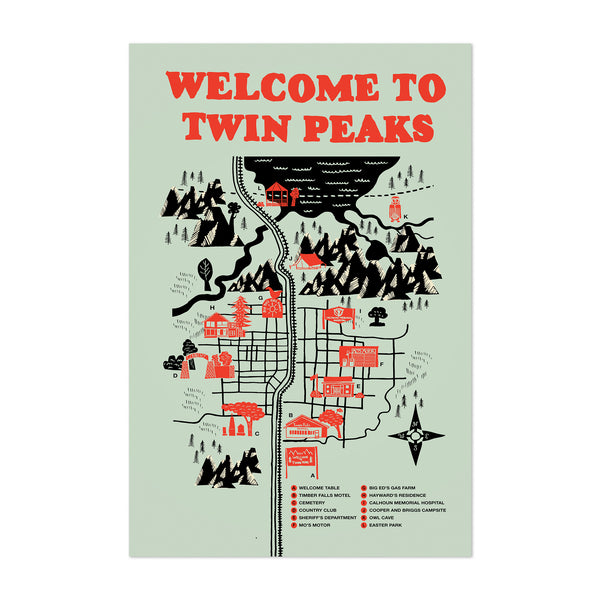Twin Peaks TV Pop Culture Map Art Print