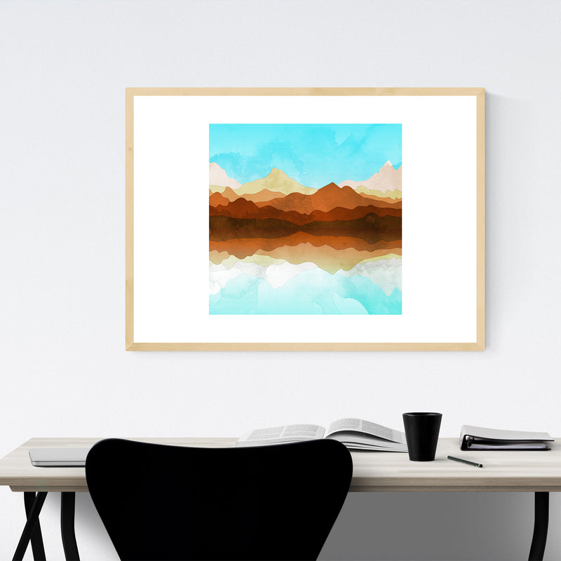 Geometric Mountains Abstract Framed Art Print