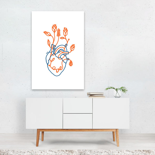 Floral Love Heart Nature Line Drawing Art Print