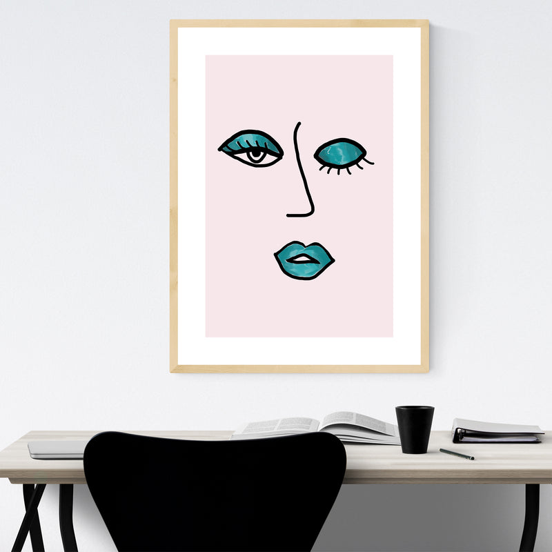 Wink Feminine Fashion Illustration Framed Art Print