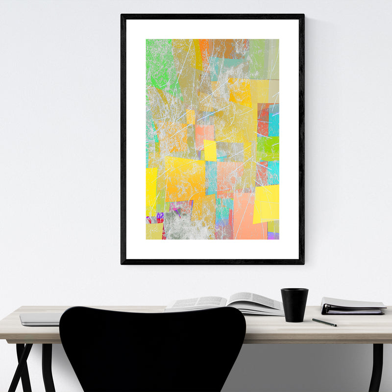 Abstract Pastel Shapes Texture Framed Art Print
