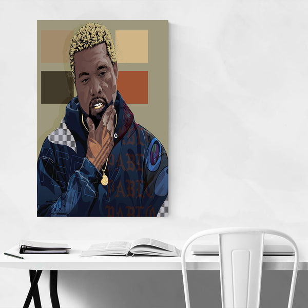 Kanye West Portrait Rap Music Art Print