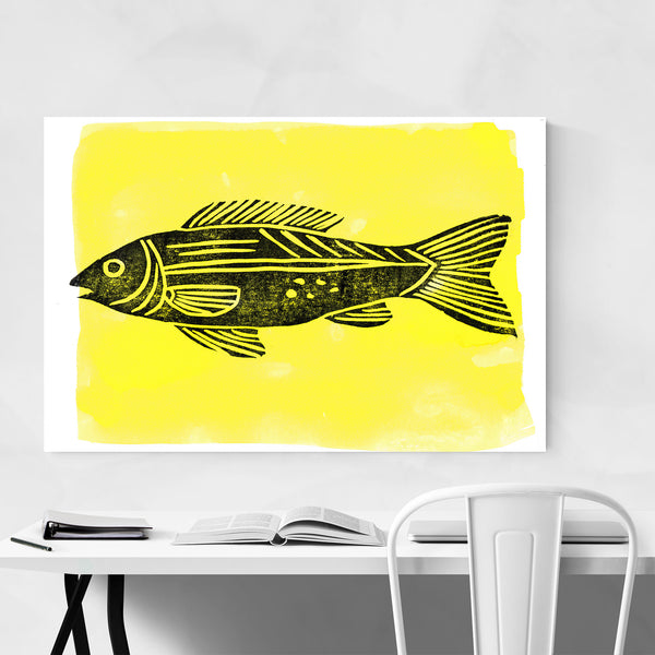 Fish Nautical Coastal Linocut Art Print