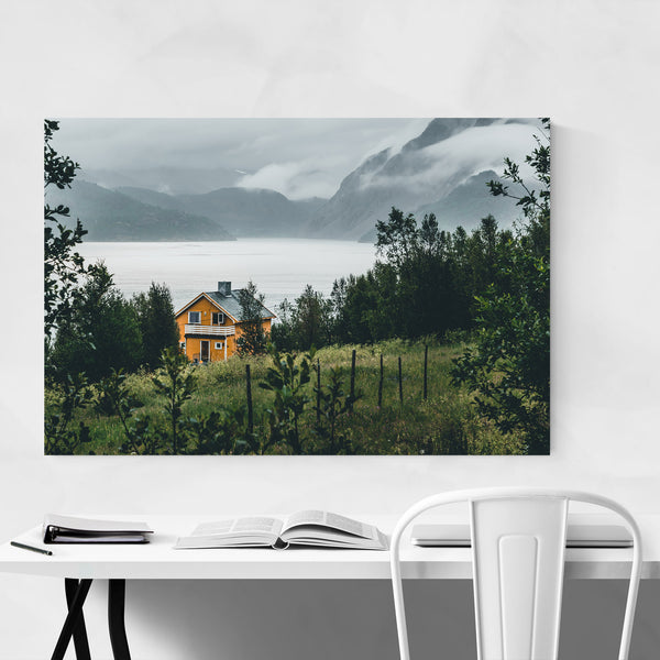 Finnsnes Yellow House Norway Art Print
