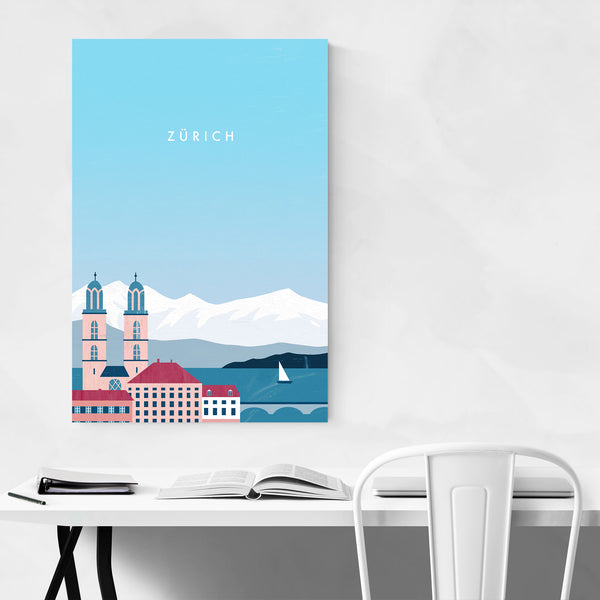 Zürich Switzerland Vintage Travel Art Print