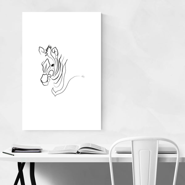 Zebra Minimal Animal Line Drawing Art Print