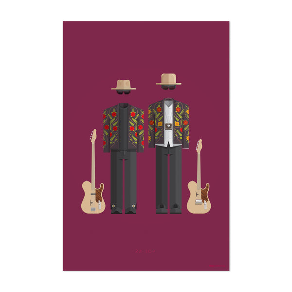 ZZ Top Music Illustration Art Print